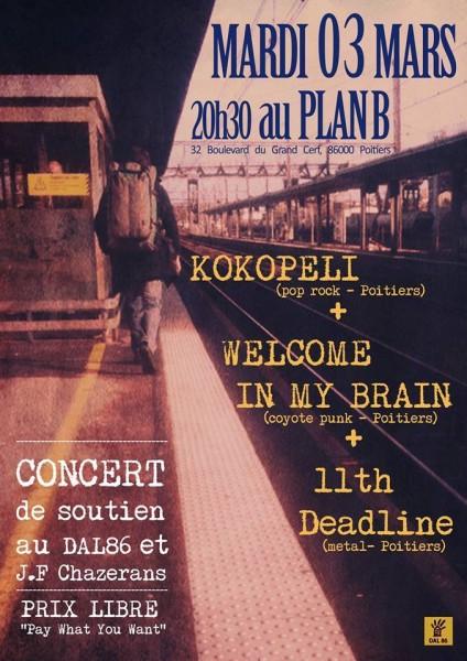 Affiche concert 3 mars 2015 au Plan B à Poitiers